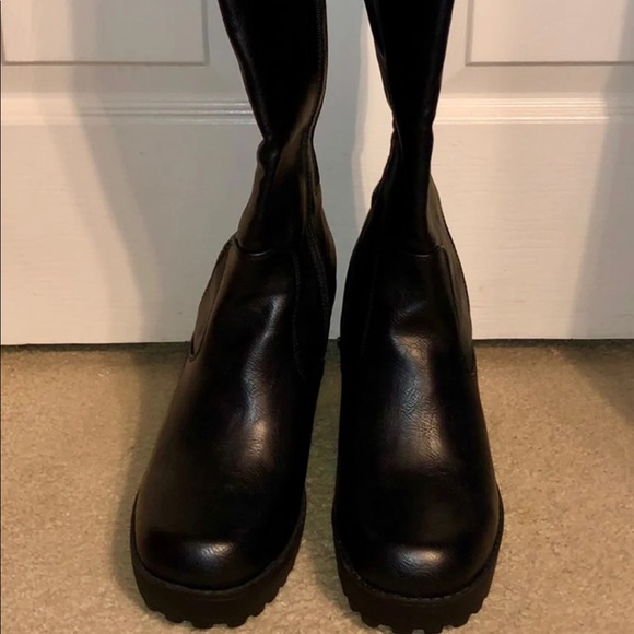 torrid Shoes - Black pleather knee high boots 9.5 W